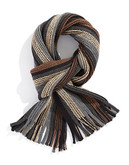 Black Brown 1826 Tonal Striped Knit Scarf with Fringe - Brown