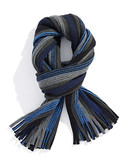 Black Brown 1826 Tonal Striped Knit Scarf with Fringe - Blue