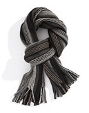 Black Brown 1826 Tonal Striped Knit Scarf with Fringe - Beige