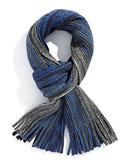 Black Brown 1826 Chunky Knit Ombre Scarf with Fringe - Blue