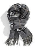 Black Brown 1826 Plaid Blanket Scarf - Blue