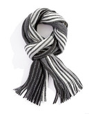 Black Brown 1826 Ombre Striped Knit Scarf with Fringe - Black