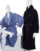 Lacoste Mens Textured Terry Robe - Black