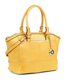 Anne Klein Leo Lizard II Satchel - Coco/Gold/Bark