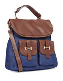 Material Girl Roncoferraro Mixed Media Satchel - Denim