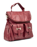 Material Girl Demara Foldover Satchel - Burgundy