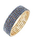 Expression Five Row Crystal Stretch Bracelet - Blue