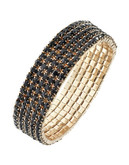 Expression Five Row Crystal Stretch Bracelet - Black