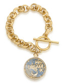 Carolee Word Play Shake Dont Stir DREAM Bracelet Gold Tone Crystal Charm Bracelet - Gold