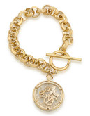 Carolee Word Play Shake Dont Stir PEACE Bracelet Gold Tone No Stone Charm Bracelet - Gold