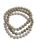 Cezanne Three Row Fireball Pearl Bracelet - Tri Colour