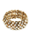 Expression Statement Pearl And Rhinestone Stretch Bracelet - Gold