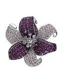 Swarovski Pave Flower Brooch - Crystal