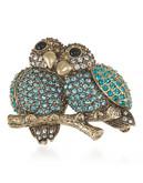 Carolee A Pair of Lovebirds Pin Gold Tone Crystal  Brooch - Blue