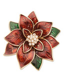 Jones New York Boxed Poinsettia Pin - Red