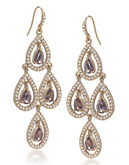 Carolee Simply Amethyst Teardrop Chandelier Pierced Earrings Gold Tone Crystal Chandelier Earring - Purple