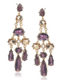 Carolee Simply Amethyst Stone Chandelier Pierced Earrings Gold Tone Crystal Chandelier Earring - Purple