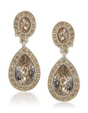 Carolee The Bridget Crystal Double Drop Clip On Earrings - Brown