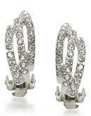 Carolee Rhea Silver Three Row Clip On Earrings Silver Tone Crystal Clip On Earring - Silver