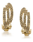 Carolee Rhea Gold Three Row Clip On Earrings Gold Tone Crystal Clip On Earring - Gold