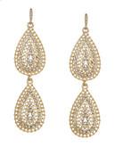 A.B.S. By Allen Schwartz Embellished Double Teardrop Earrings - Gold