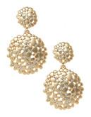A.B.S. By Allen Schwartz Double Drop Flower Cluster Earrings - Gold