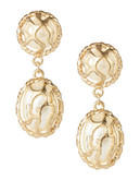 Expression Gold Frame Pearl Drop Earrings - Gold