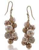 Carolee Gold Crystal And Pearl Cluster Pierced Earrings - Gold