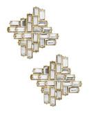 A.B.S. By Allen Schwartz Crystal Button Earrings - Gold