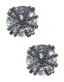 A.B.S. By Allen Schwartz Chain Wrap Stud Earrings - Silver