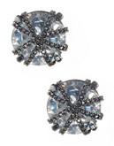 A.B.S. By Allen Schwartz Chain Wrap Stud Earrings - Silver