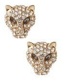 A.B.S. By Allen Schwartz Panther Faux Crystal Stud Earrings - Gold