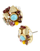 Betsey Johnson Bow And Crystal Cluster Round Stud Earring - Multi Coloured