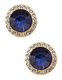 R.J. Graziano Stud Earrings with Pave Border - Blue
