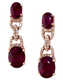 Effy 14K Rose Gold Diamond Lead Glass Filled Ruby Earrings - Ruby
