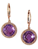 Effy 14K Rose Gold Diamond and Amethyst Earrings - AMETHYST
