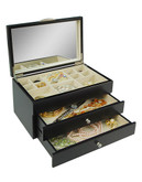 Gunther Mele Java 2 drawer lift top jewellery box - Black