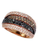 Effy 14K Rose Gold, White, Black And Espresso 2.05ct Diamond Ring - Diamond - 7