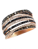 Effy 14K Rose Gold, White, Cognac And Black 1.08ct Diamond Ring - Diamond - 7