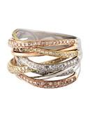 Effy 14K Tri Tone Gold 0.17ct Diamond Ring - Diamond - 7