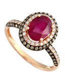 Effy 14K Rose Gold Diamond Espresso Diamond Lead Glass Filled Ruby Ring - Ruby - 7