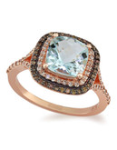 Effy 14k Rose Gold White And Espresso Diamond and Aquamarine Ring - Multi-Coloured - 7