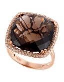 Effy 14K Rose Gold Diamond and Smoky Quartz Ring - Diamond/Quartz - 7