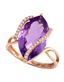 Effy 14K Rose Gold, Diamond And Amethyst Ring - Amethyst - 7