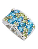 Fine Jewellery Sterling Silver, Peridot And Blue Topaz Gemstone Ring - Ss Peridot & Blue Topaz Gemstone Set Wide Band Ring - 7