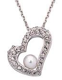 Swarovski Floating Open Heart Pendant With Swarovski Pearl - Silver