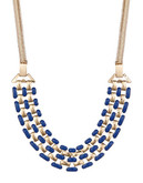 Expression Multi Row Enamel Frontal Necklace - blue