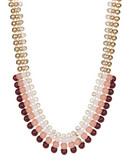 Expression Four Row Sphere Collar Necklace - red