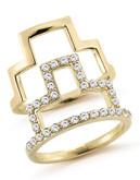 Elizabeth And James Erte Ring Stack Set With White Topaz - Gold - 7