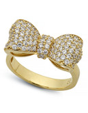 Crislu Puffy Bow Cubic Zirconia Ring - Gold